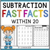 Simple Subtraction Fast Facts Fluency to 20 Worksheets Kindergarten First Grade