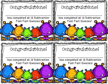 Subtraction Fast Facts {Fluency Quizzes}