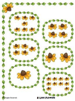 Subtraction File Folder Math Center - 2 less than  Flower Theme Kindergarten 1st