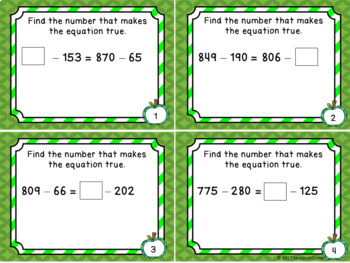 Subtraction Files - Balance the Equation 3 Digit Numbers Task Cards