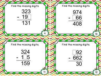 Subtraction Files - Find the Missing Numbers  with 3 digits Task Cards