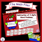 Subtraction Files - Subtracting with 3 Digits Word Problems Task Cards