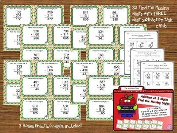 Subtraction Files - Three Digit Subtraction Task Cards Bundle