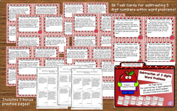 Three Digit Addition and Subtraction Task Cards Bundle