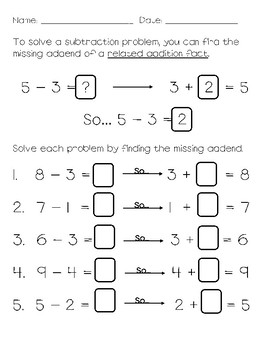 Subtraction - Find the Missing Addend
