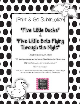 "Subtraction [""Five Little Ducks"" & ""Five Little Bats""]"