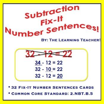 Fix-It Number Sentences (Subtraction) Task Cards!