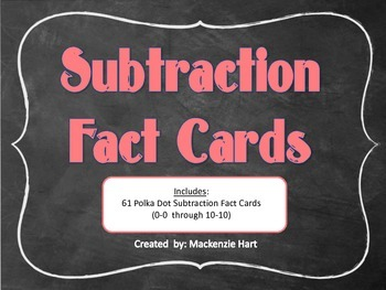 Subtraction Flash Cards: 0 - 10 Facts