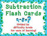 Subtraction Flash Cards - 4 Difficulty Levels - Subtracting up to 20
