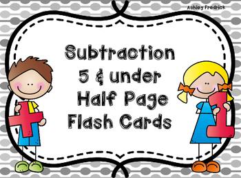 Subtraction Flash Cards 5 & Under