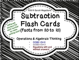 Subtraction Flash Cards (Facts from 20 to 10)