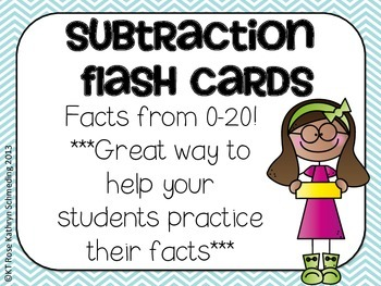 Subtraction Flash Cards-Facts up to 20
