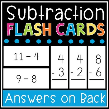 Subtraction Flash Cards - Math Facts 0-12 Flashcards - Printable