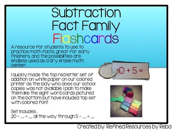 Subtraction Flash Cards Self Checking