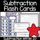 Subtraction Flash Cards- Math Fact Fluency Within 20- Common Core Aligned