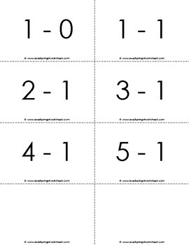 Subtraction Flash Cards for Kindergarten (0-5)