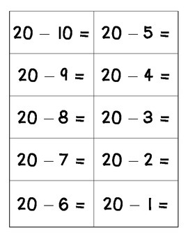Subtraction Flashcards (11-0 to 20-20)