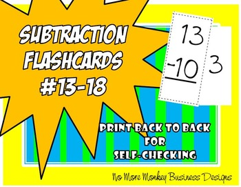 Subtraction Flashcards #13-18