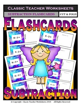 Subtraction Flashcards-Facts to 21-Cut & Fold- Kindergarten Grade 1 (1st Grade)