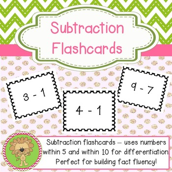 Subtraction Flashcards - Within 5 & Within 10