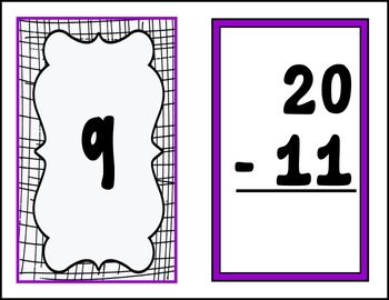 Subtraction Flashcards with Basic Facts --- Large Flashcards