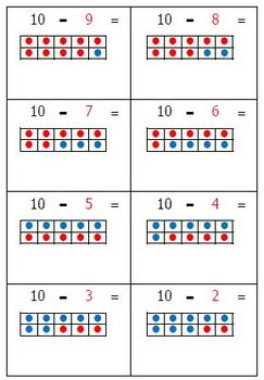 Subtraction Flashcards with Concept Pictures