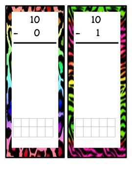 Subtraction Flip Books 0-10 with Ten Frames