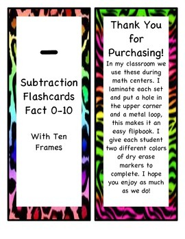Subtraction Flip Books 0-10 with Ten Frames