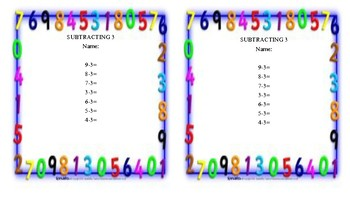 Subtraction Fluency 0-8
