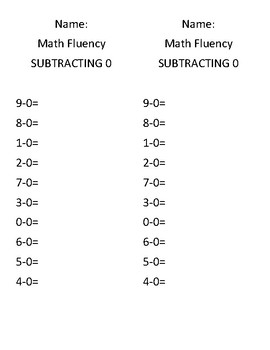 Subtraction Fluency 0-9