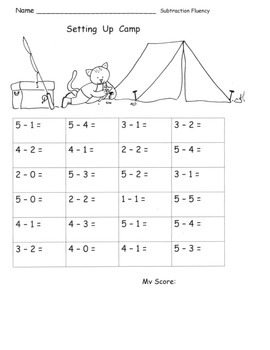 Subtraction Fluency 15 Pages of Fluency Practice: Facts within 5