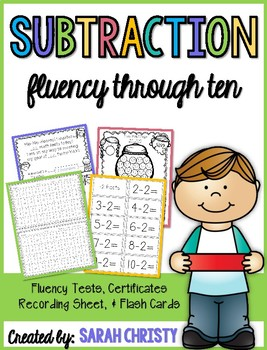 Subtraction Fluency Assessments: -0 Through -10 facts~ With Extras!