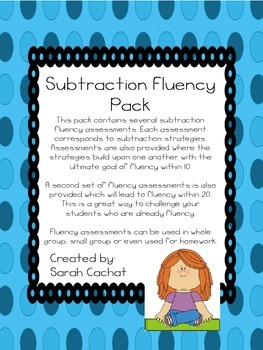 Subtraction Fluency Pack Within 20