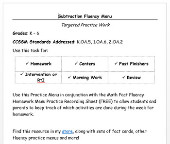 Subtraction Fluency Practice Menu - EDITABLE VERSION