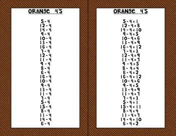 Subtraction Fluency Practice and Quiz Strips