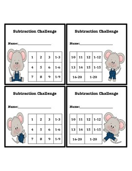 Subtraction Fluency Progress Chart (Mouse Themed)