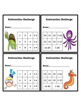 Subtraction Fluency Progress Chart (Ocean Themed)