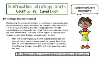 Subtraction Fluency Sort- Count up vs. Count back