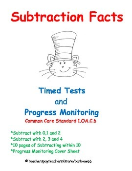 Subtraction Fluency:  Subtract within 10 Timed Tests  Progress Monitoring