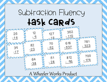 Subtraction Fluency and Practice Task Cards