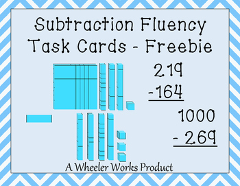 Subtraction Fluency and Practice Task Cards Freebie