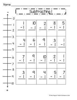 Subtraction Fluency within 10 with Number Line