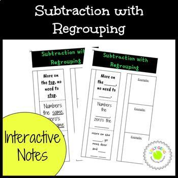 Subtraction with Regrouping Foldable