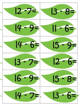 Subtraction Folders Math facts 10 to 15