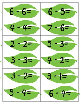 Subtraction Folders Math facts to 10