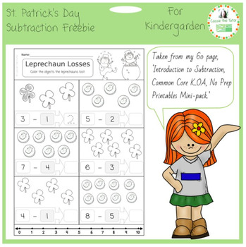 St Parick's  Freebie - Introduction to Subtraction for K.OA