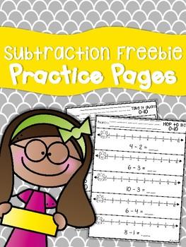 Subtraction Freebie Practice Sheets