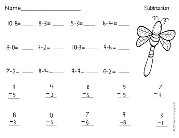 Subtraction From 10 Spring Theme Common Core