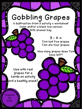 Subtraction From 5 Gobbling Grapes