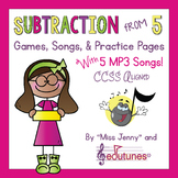 Subtraction From 5 HUGE Set: Games, Songs & Practice Pages With 5 mp3 Songs